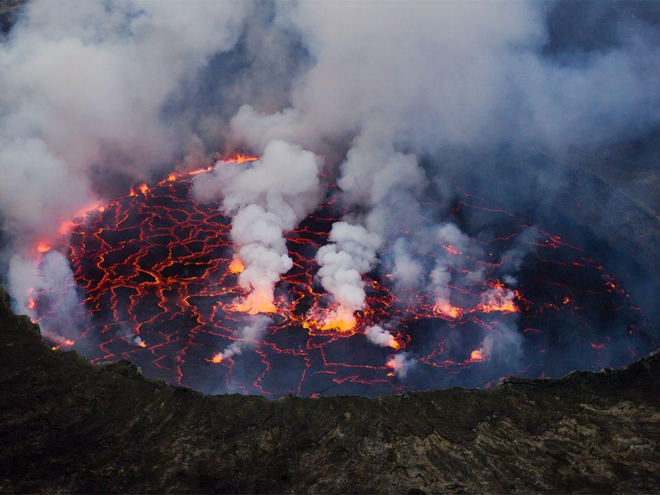 Climbing mount Nyiragongo volcano