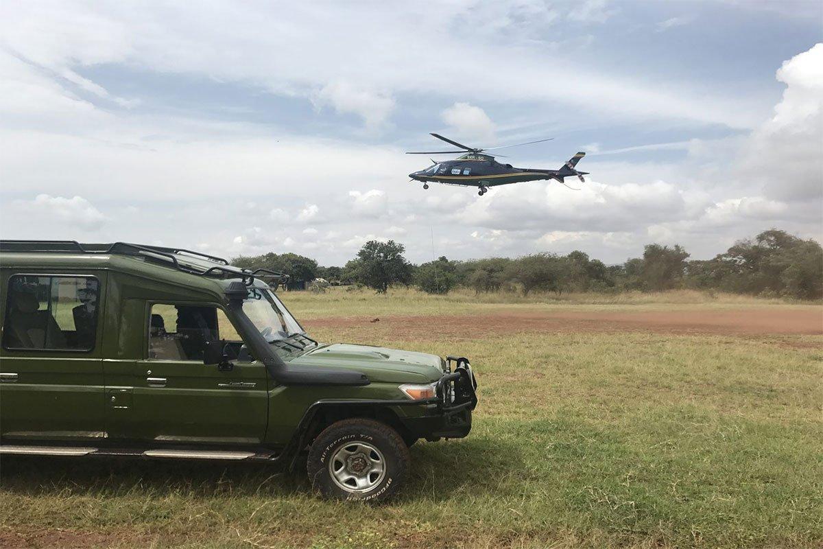 Flying helicopter Rwanda gorilla safaris