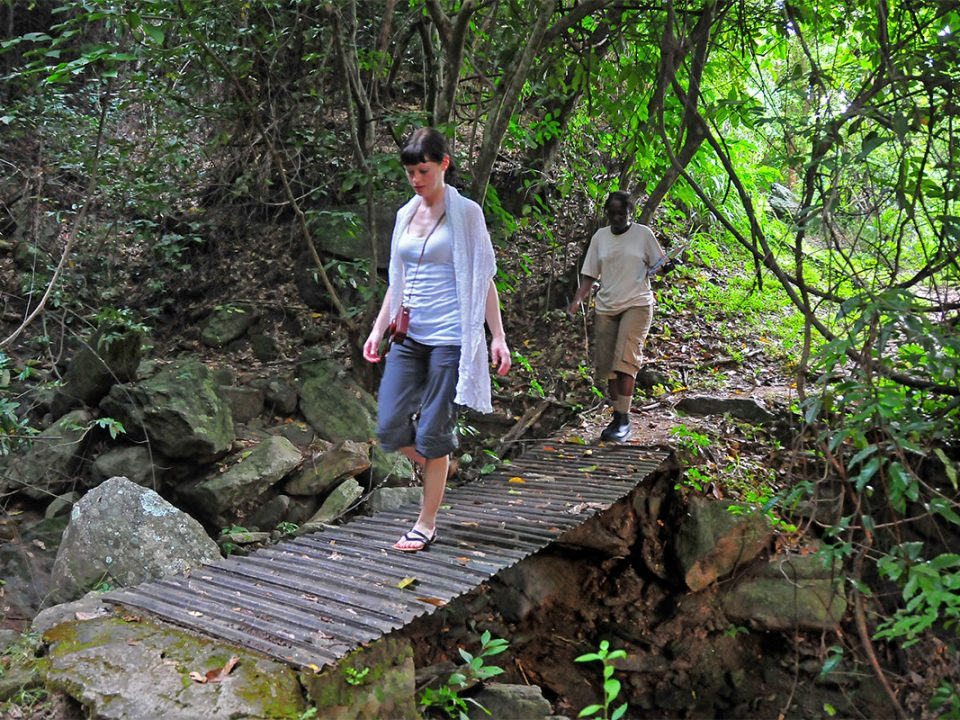Hiking up Murchison falls